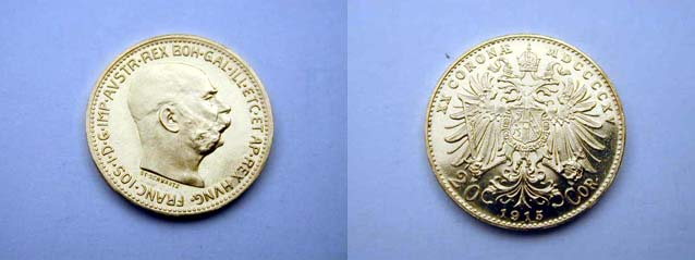 Austria, 20 Corone 1915 (Fondi Brillanti, conio originale 1915)